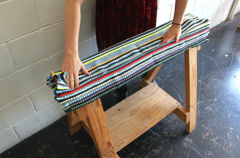 1 drape rag rug in place