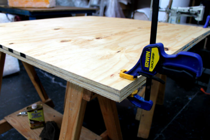 1Clamp boards together
