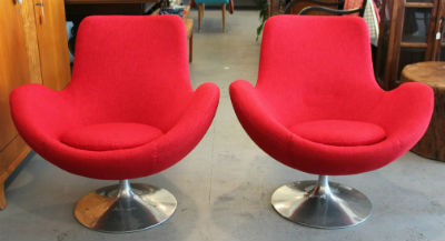 mod red chairs after