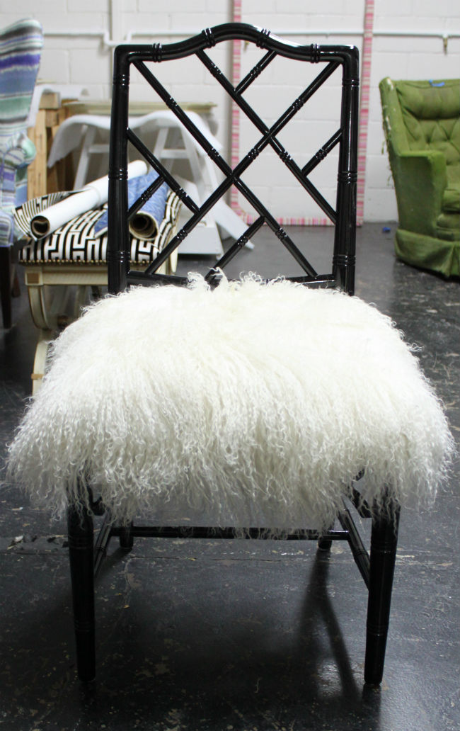 rattan chippendale chair with long hair lamb hide upholstery