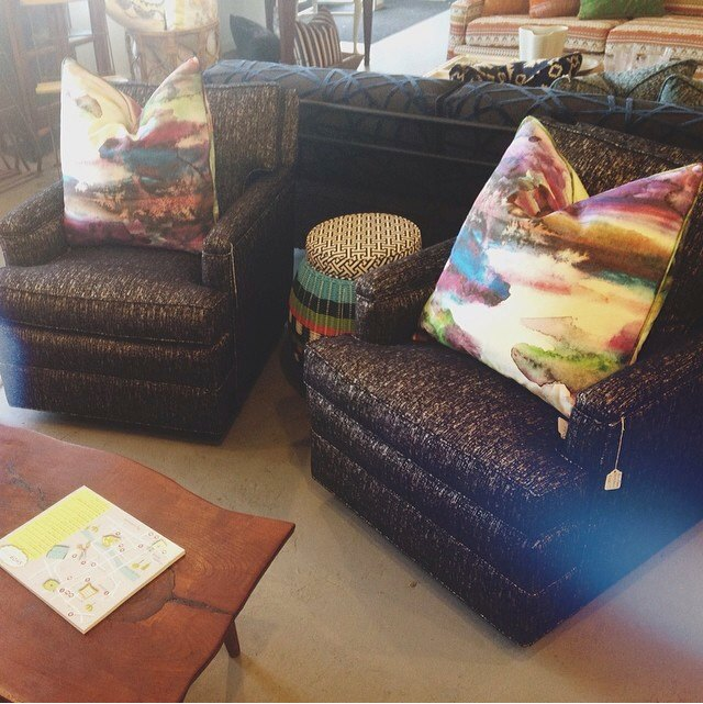 "Heather Banks snapped this photo of our two newly upholstered club chairs. The pair was quite popular. One shopper even described them as ""yummy!"""