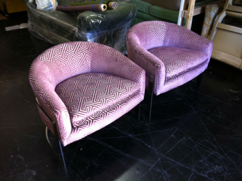 """A delicious pair of chairs covered in a close match to """"Radiant Orchid."""" Fabric is Clarke and Clarke """"Cosimo""""in grape."""