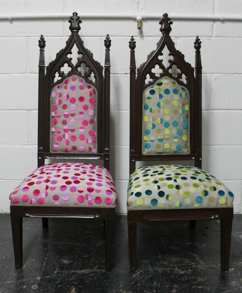 The antique Gothic style chairs after!