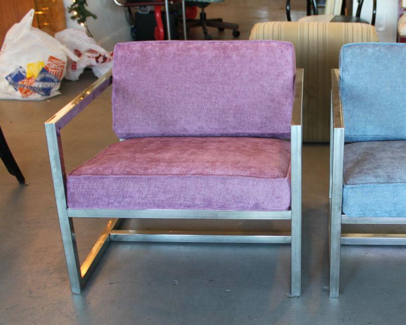 "Chrome frame chair covered in Duralee's ""Barker Weave Velvet"" in hyacinth. Delicious!"