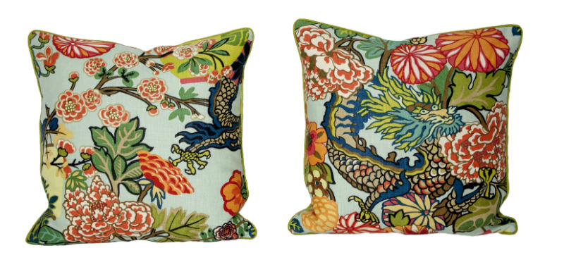 Chiang Mail Dragon pillows with green solid coordinate.