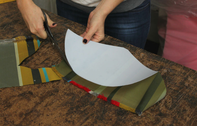 cut fabric along the styrene edge