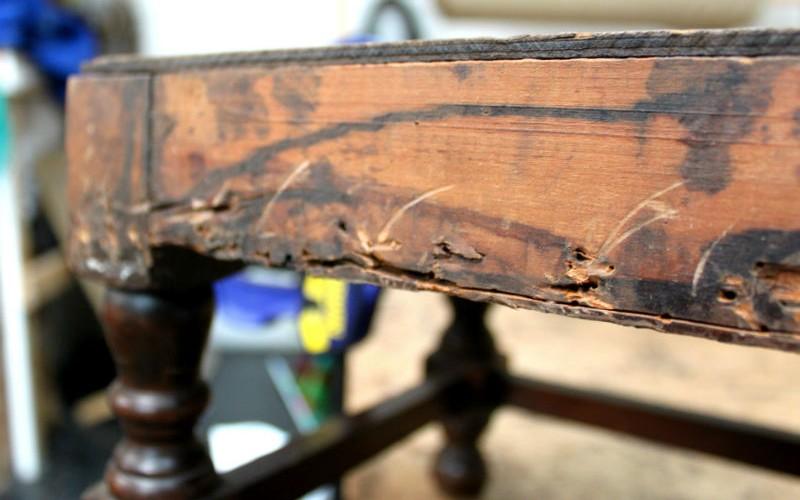 damaged wood edge