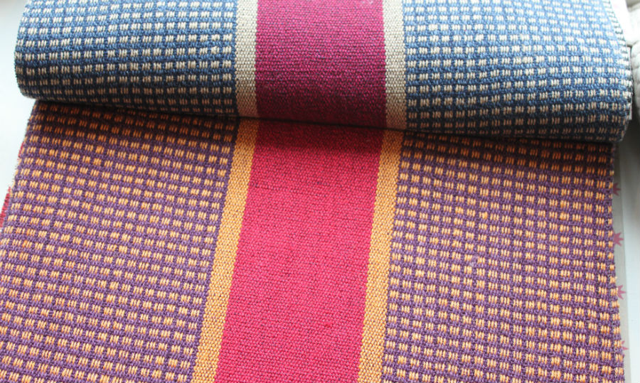 Lorca's blanket look. I love this trend! I would love to upholster anything in a blanket, or maybe just make a throw out of this fabric. RAD!