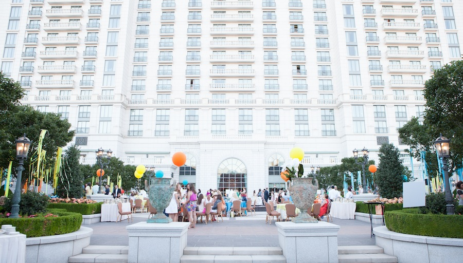 The Garden Party was held in the courtyard of the Grand America Hotel.