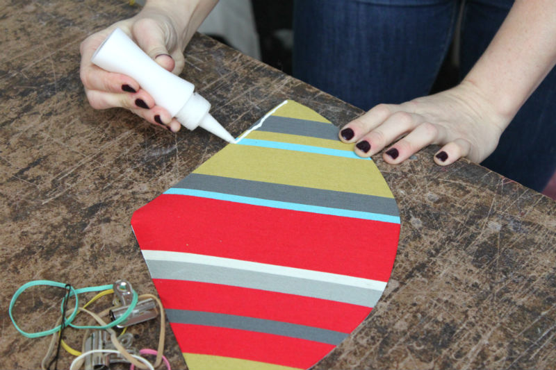 glue along the seam fabric side