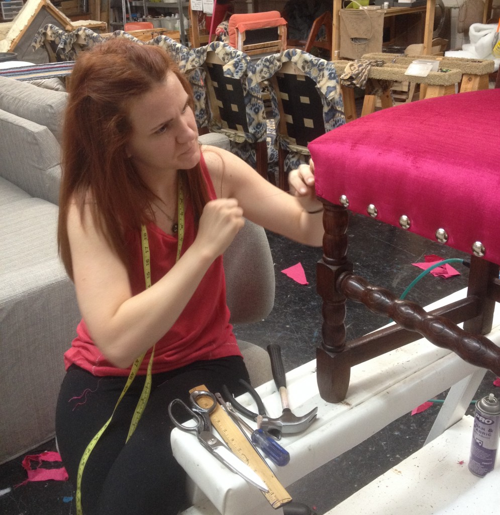 Katherine came to Spruce as an apprentice! Now she is a full-fledged upholstere