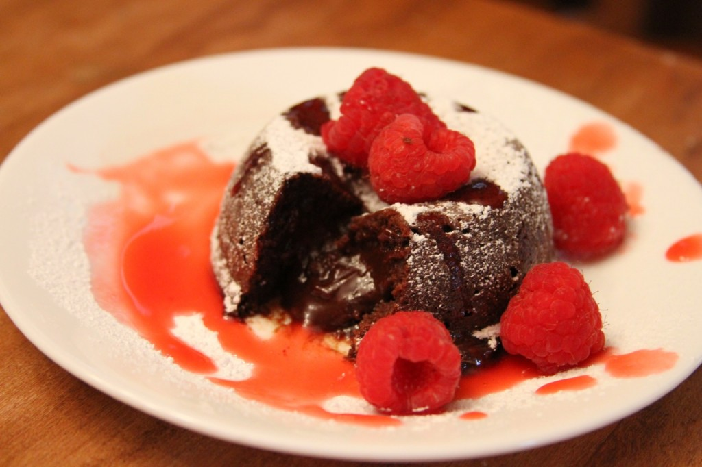 Katherine made this molten chocolate cake with raspberry sauce for her niece Molly!