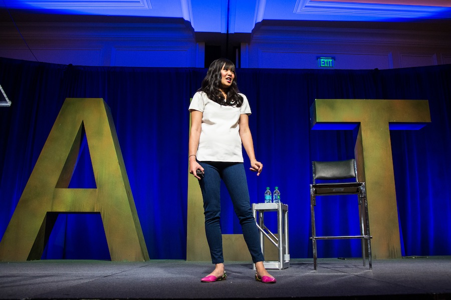 """Joy Cho of Oh Joy! started off the conference with an inspiring keynote speech about juggling work and being a wife and mother. She Joy ended with Thomas Jefferson's quote, """"If you want something you've never had, you have to do something you've never done."""""""