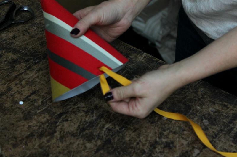 pull ribbon through hole