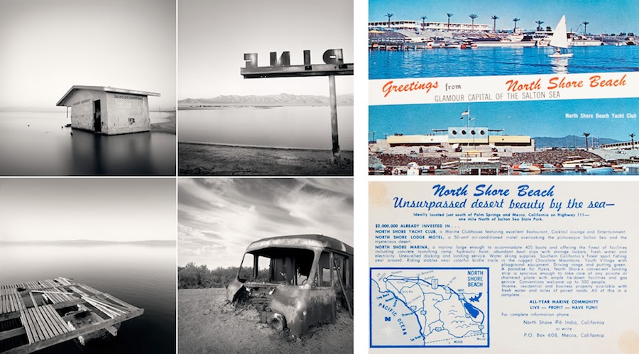 Ryann Ford's photos of the Salton Sea (left) and a postcard