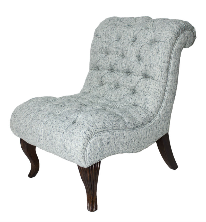 Blue Tweed Slipper Chair.