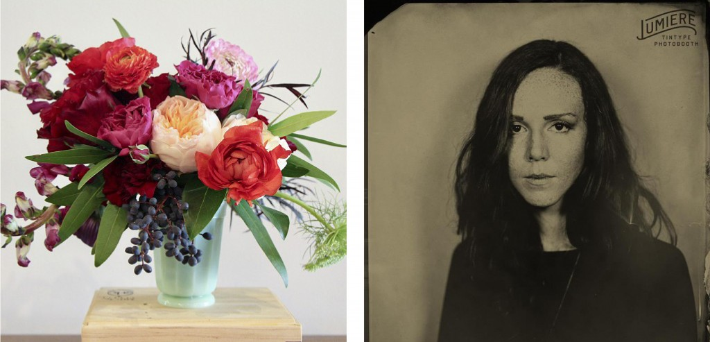 Floral arrangements by Gypsy Floral and Mockingbird Domestics (left), photo courtesy of Mockingbird Domestics; and Lumiere tintype photo (right), courtesy of Lumiere.
